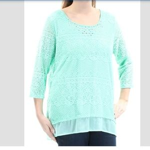 JM Collection tip 3/4 sleeve mint green size Large